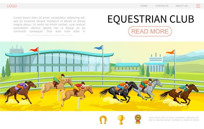 Kreskówki Equestrian strony internetowej Turniejowy szablon ilustracji