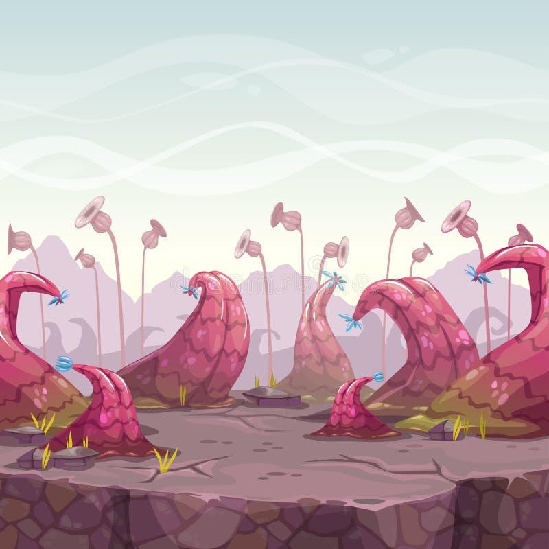 Kreskówki fantazi krajobraz z niezwykłymi roślinami royalty ilustracja