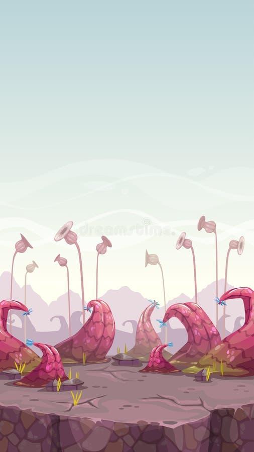 Kreskówki fantazi krajobraz z niezwykłymi roślinami ilustracji