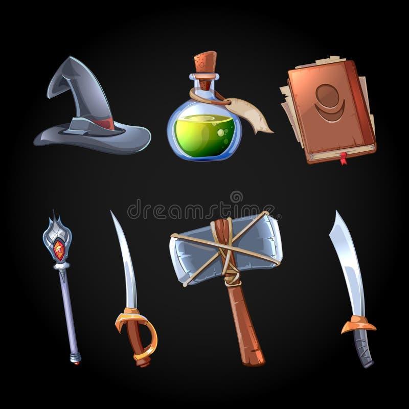 Kreskówki fantazi magia i broni wektorowe ikony ustawiać ilustracja wektor