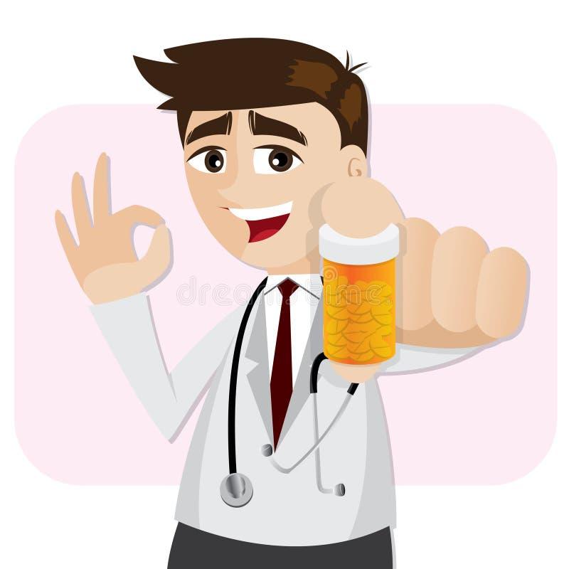 Kreskówki farmaceuta pokazuje medycyny butelkę ilustracja wektor