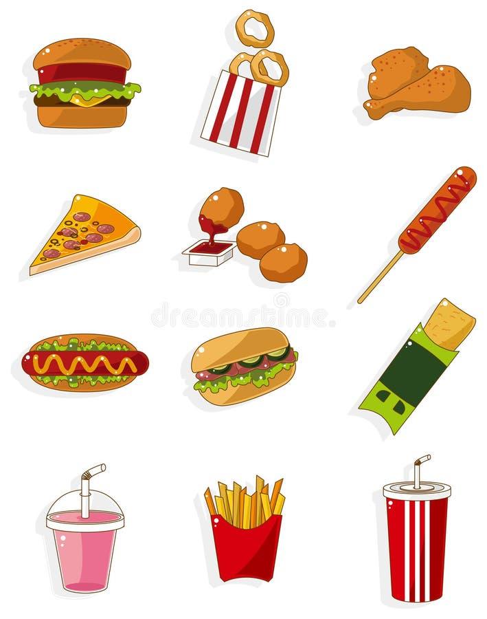 kreskówki fasta food ikona royalty ilustracja