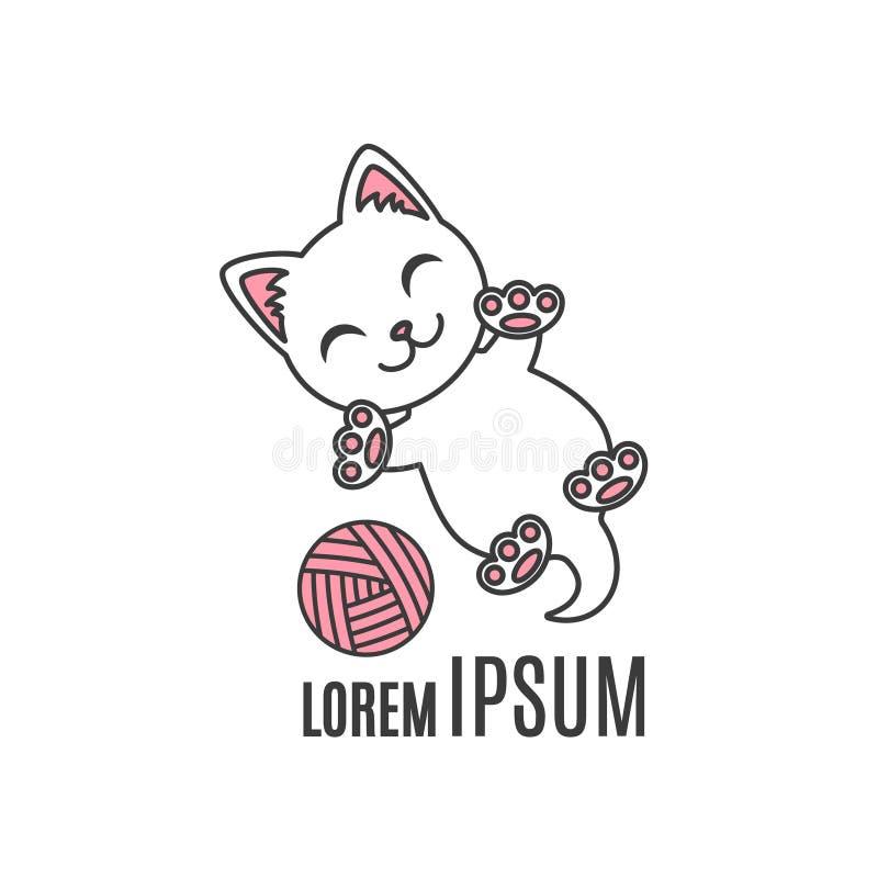 Kreskówki figlarka bawić się z piłką Kota logo Prosty zwierzęcy logotyp dla sklepowej lub handmade firmy royalty ilustracja