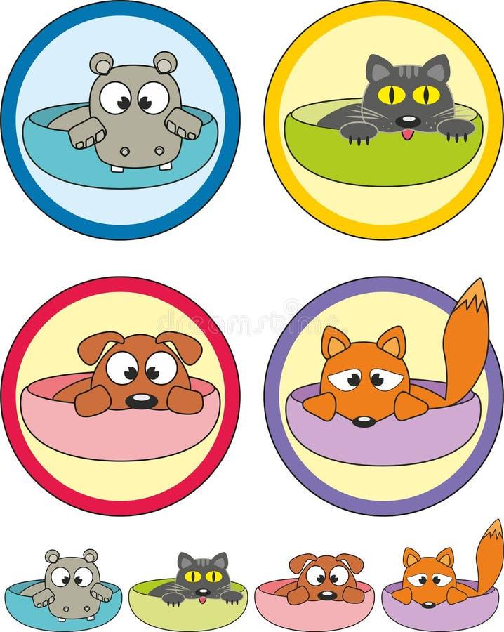 kreskówki filiżanek etykietek zwierząt domowych majchery ilustracja wektor