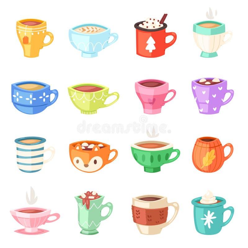 Kreskówki filiżanki wektor żartuje kubki kawy lub herbaty gorący cupful na śniadaniowych i różnorodnych kształtach coffeecup ilus royalty ilustracja