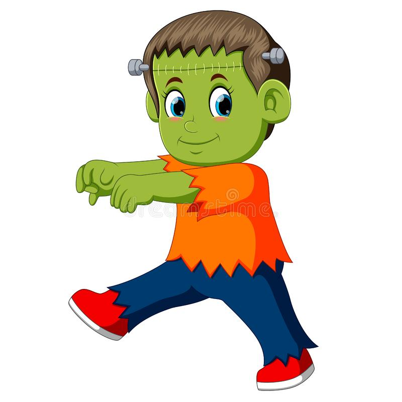 Kreskówki Frankenstein dzieciak ilustracja wektor