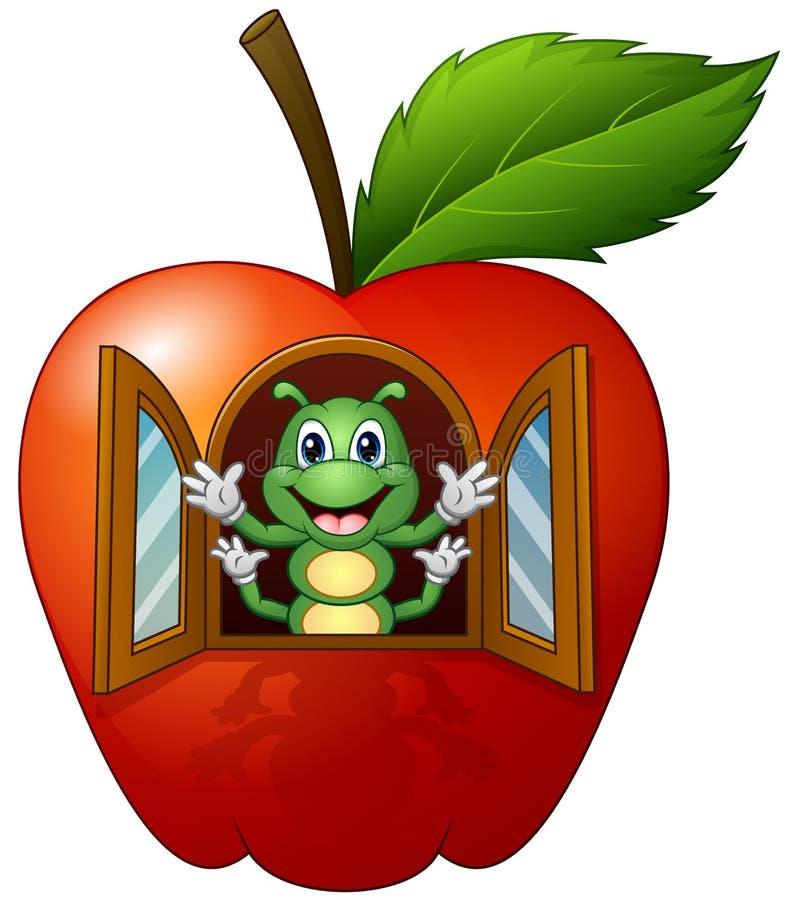 Kreskówki gąsienica w jabłczanym domu ilustracji
