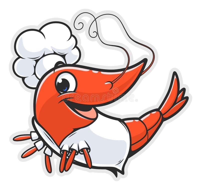 Kreskówki garneli kucharz royalty ilustracja