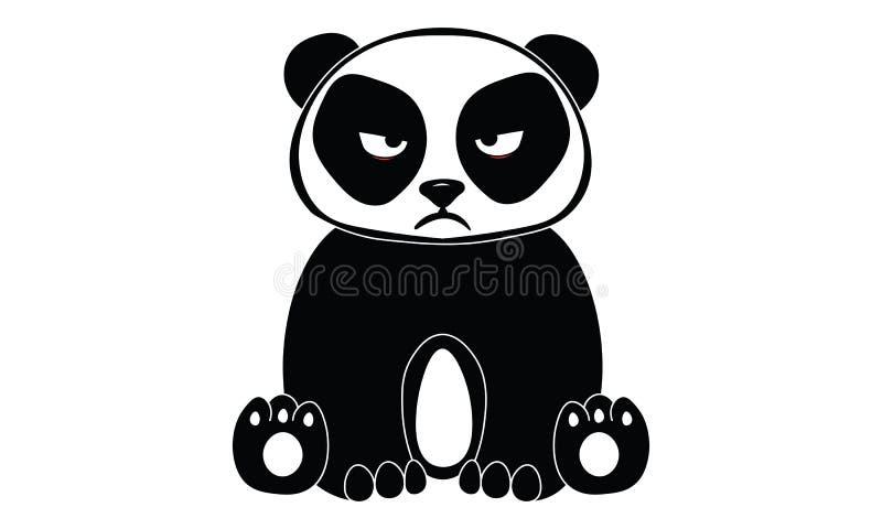 Kreskówki gderliwej pandy czarny i biały ilustracja ilustracji