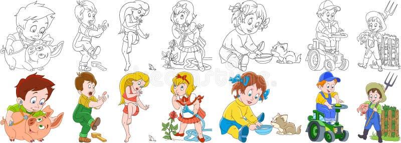 Kreskówki gospodarstwa rolnego ludzie ustawiający royalty ilustracja