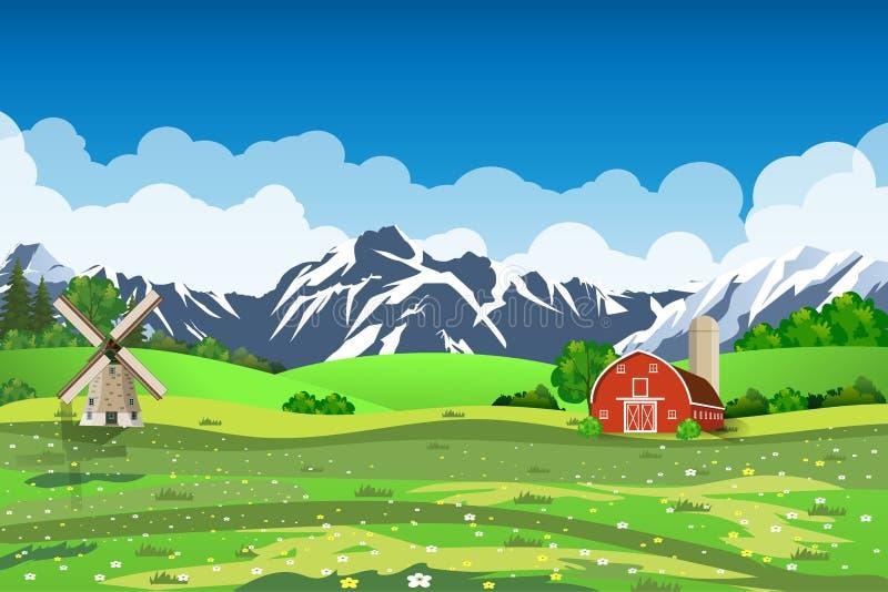 Kreskówki gospodarstwa rolnego zieleni obsiewania pole, ilustracja wektor