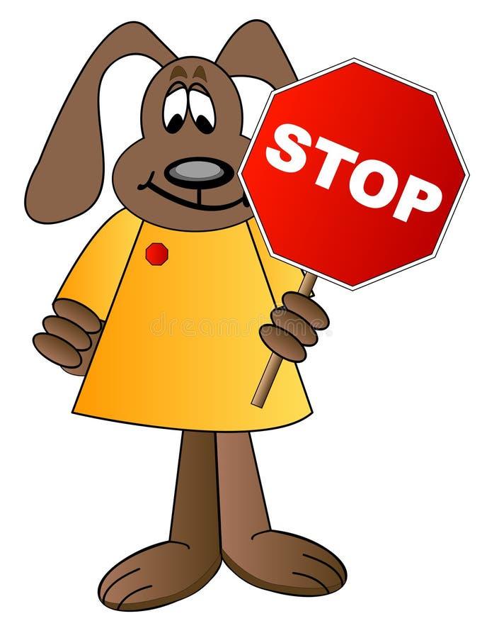 kreskówki gospodarstwa znak stop psów ilustracji