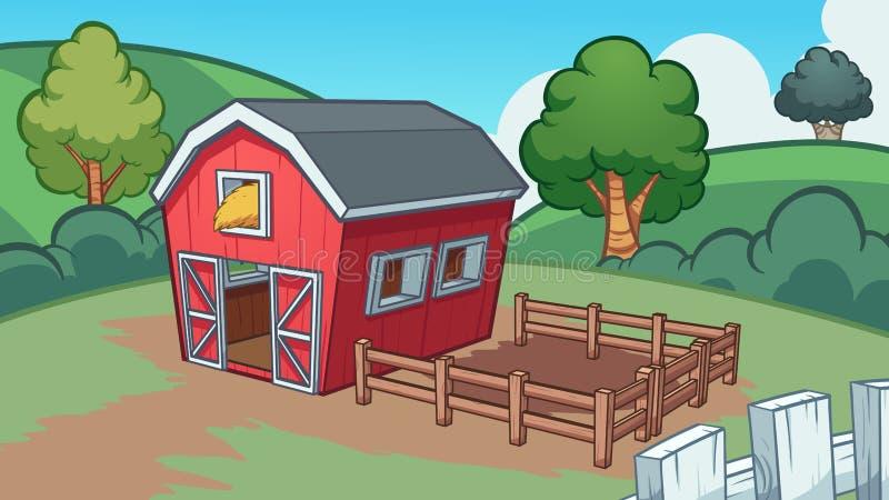 Kreskówki gospodarstwo rolne z czerwoną stajnią ilustracja wektor