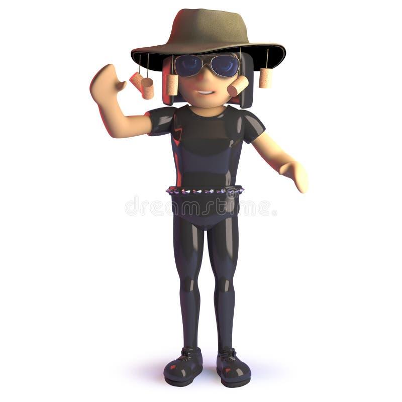 Kreskówki goth dziewczyna jest ubranym Australijskiego krzaka tucker kapelusz, 3d ilustracja royalty ilustracja