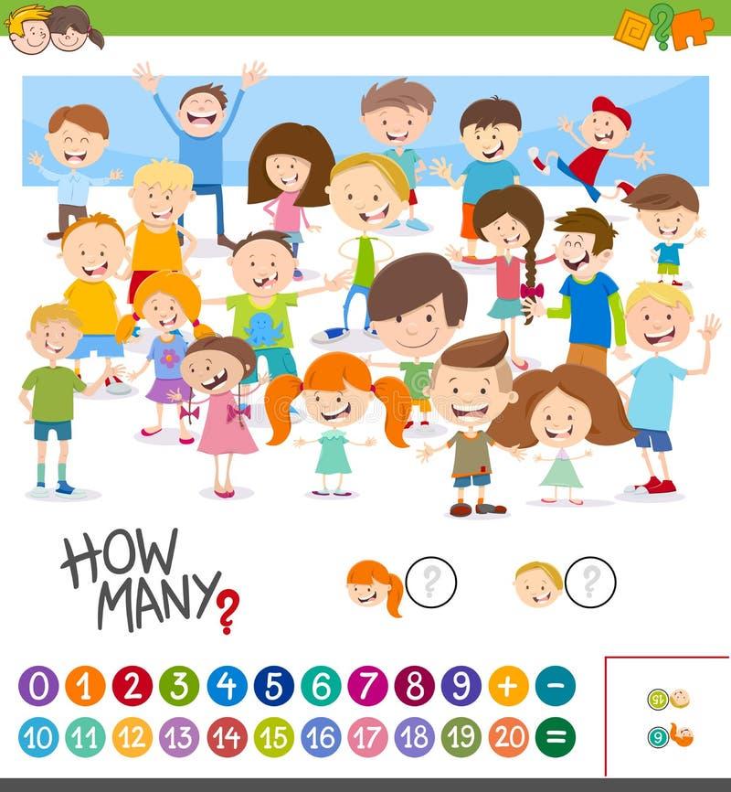 Kreskówki gra odliczający dzieci ilustracja wektor
