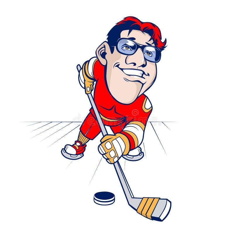 kreskówki gracz w hokeja royalty ilustracja