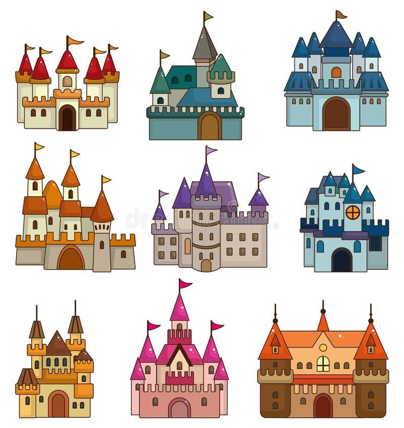 kreskówki grodowa czarodziejska ikony bajka royalty ilustracja