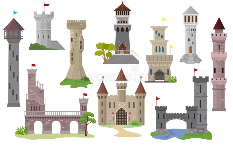 Kreskówki grodowej wektorowej bajki średniowieczny wierza fantazja pałac budynek w królestwa bajkowy ilustracyjnym ustawiającym ilustracja wektor