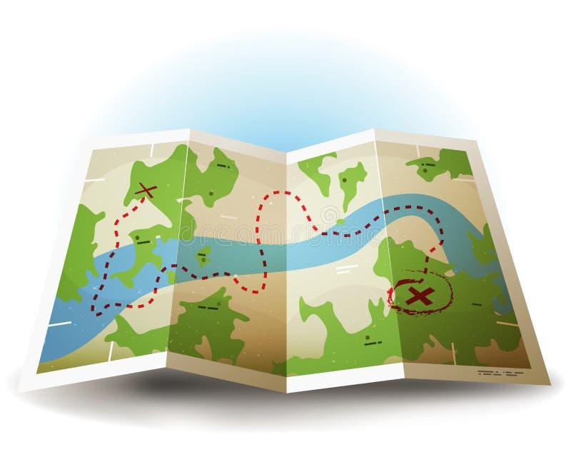 Kreskówki Grunge ziemi mapy ikona royalty ilustracja