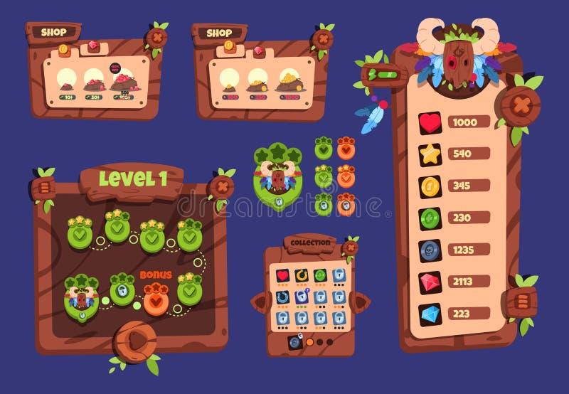 Kreskówki gry ui Drewniani elementy, podręczny menu, guziki i ikony, 2d gemowego interfejsu wektorowy projekt ilustracja wektor