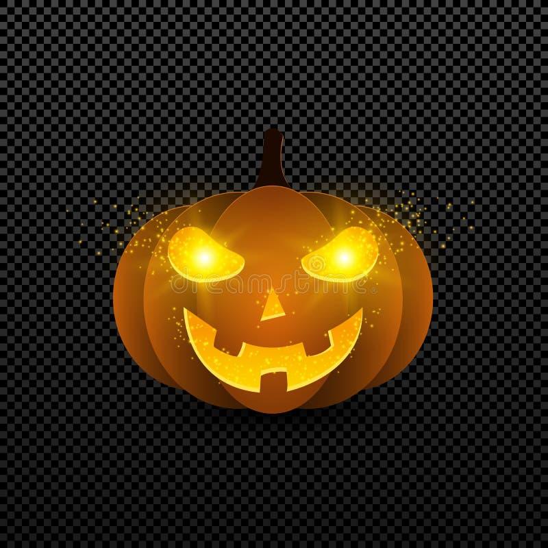 Kreskówki Halloween bania pomarańczowy kolor z jarzyć się ono przygląda się Żółta oko łuna w zmroku na przejrzystym tle f royalty ilustracja