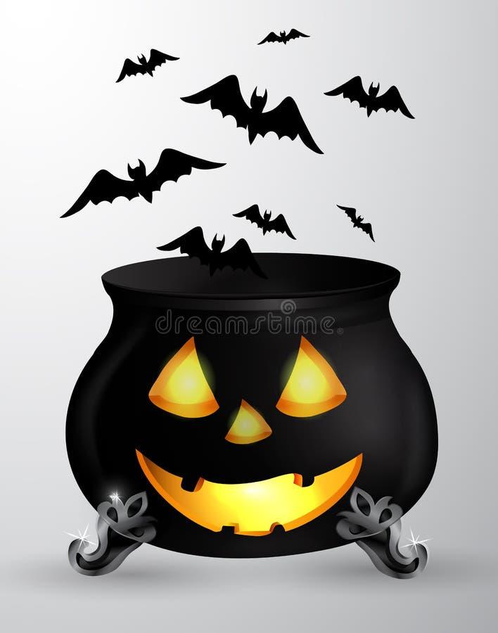 Kreskówki Halloween kocioł ilustracji