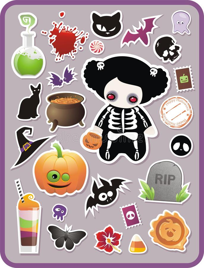 kreskówki Halloween ustalony majcher ilustracja wektor