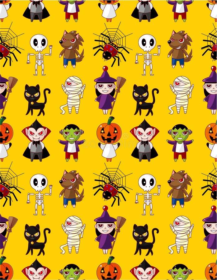 kreskówki Halloween wakacyjny potwora wzór bezszwowy ilustracja wektor