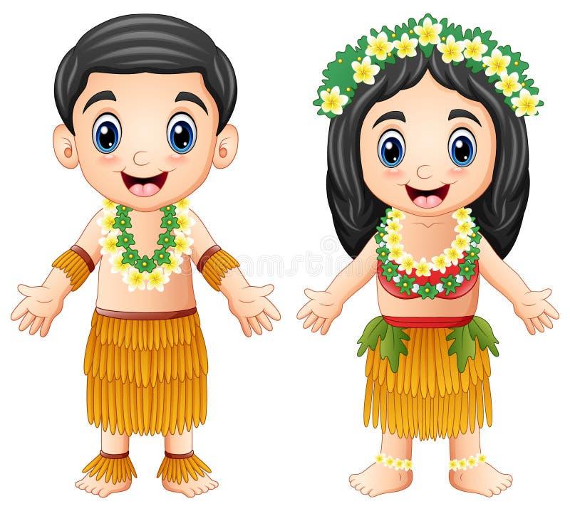 Kreskówki Hawajska para jest ubranym tradycyjnych kostiumy ilustracja wektor