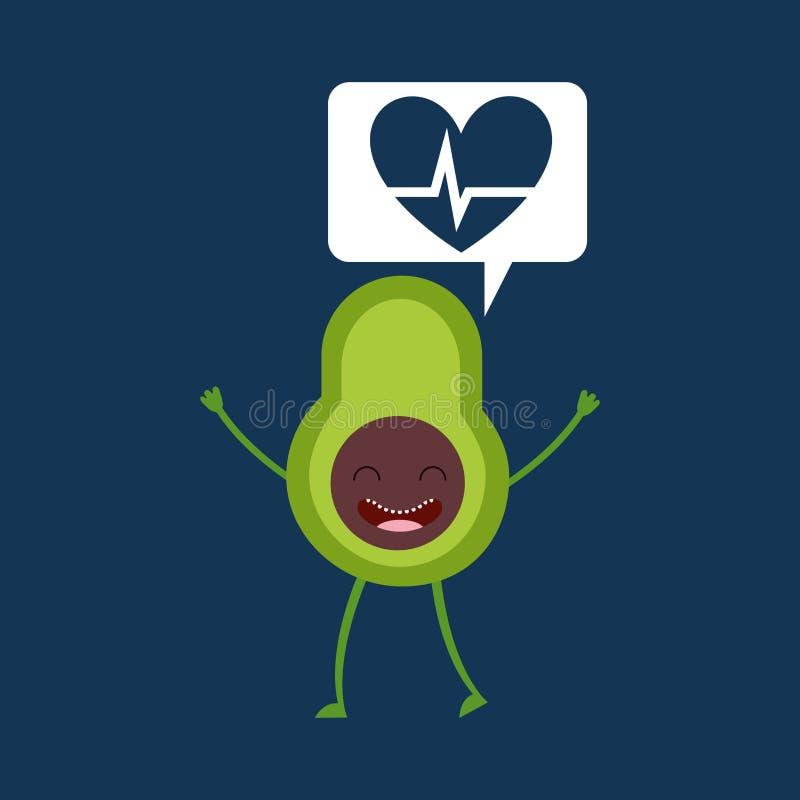 Kreskówki heartrate avocado owoc royalty ilustracja