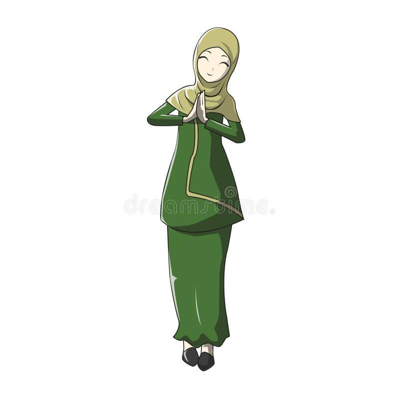 Kreskówki Hijab muslimah Wektorowy zielony kolor ilustracja wektor