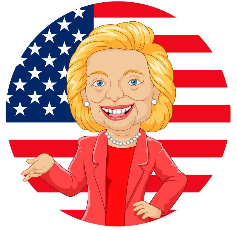 Kreskówki Hillary Clinton charakter royalty ilustracja