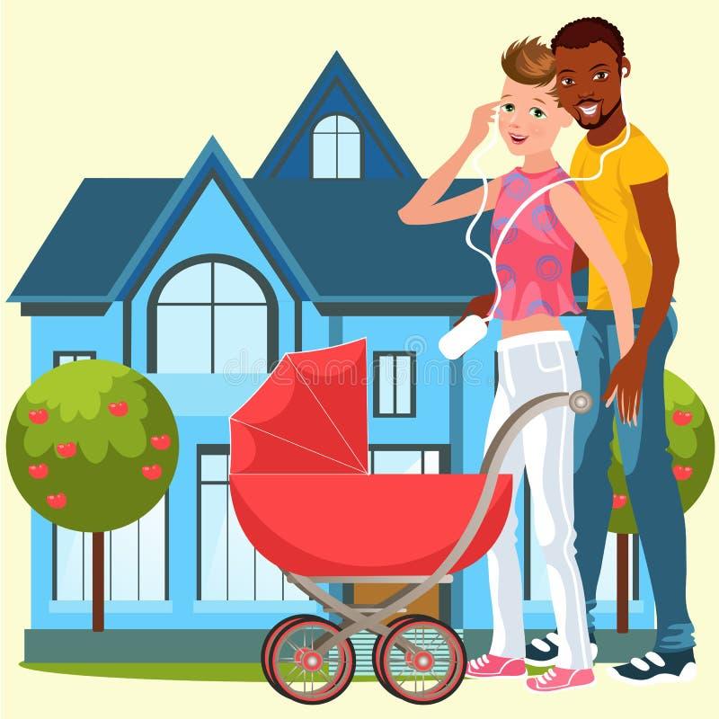 Kreskówki homoseksualny rodzinny szczęśliwy pozować blisko domu ilustracji