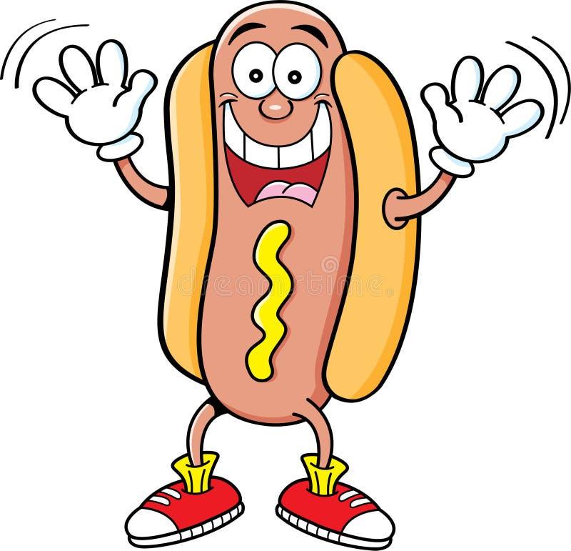 Kreskówki hotdog falowanie royalty ilustracja