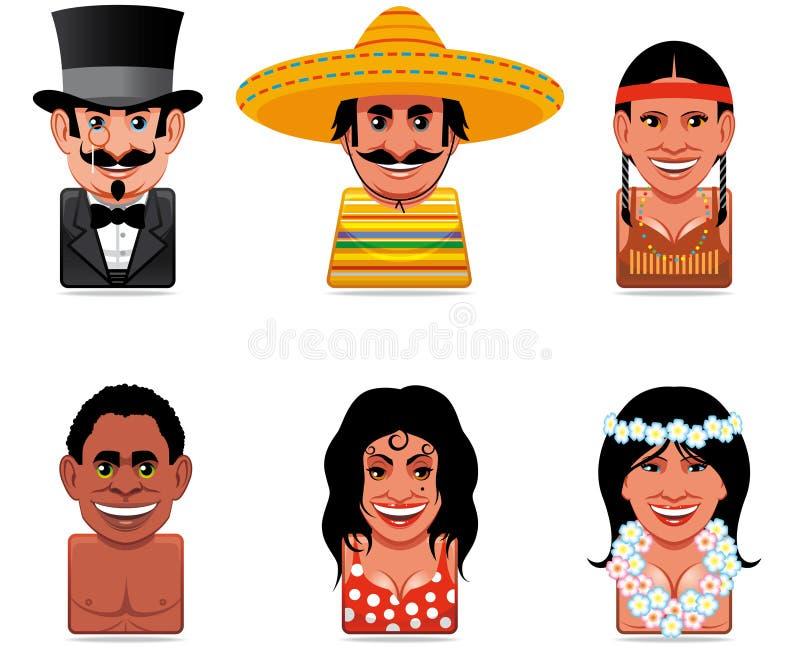 kreskówki ikon ludzie ilustracji