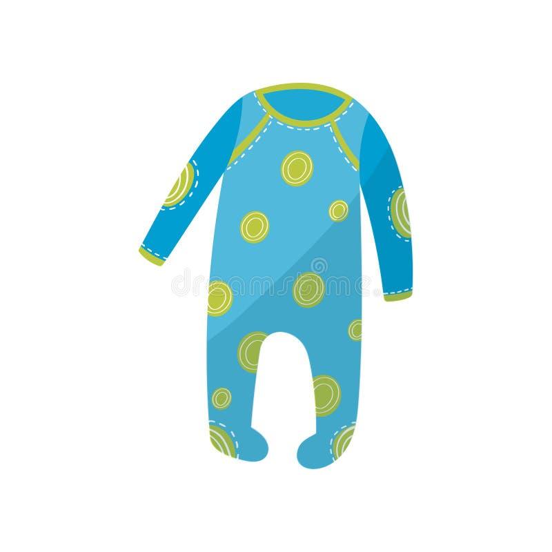 Kreskówki ikona błękitnego dziecka romper z zielonymi round wzorami Szata dla nowonarodzonej chłopiec lub dziewczyny Dzieci s odz ilustracja wektor