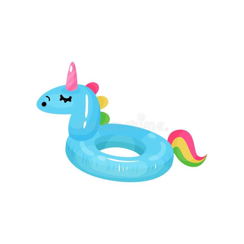 Kreskówki ikona gumowy pierścionek dla pływać w kształcie błękitna jednorożec z kolorowym ogonem Nadmuchiwana okrąg zabawka dla royalty ilustracja
