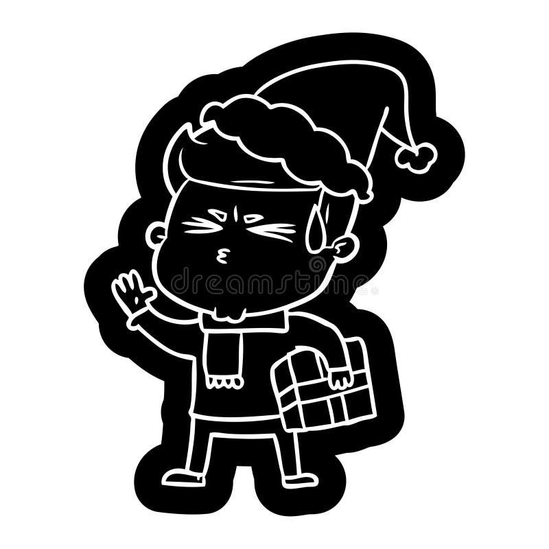 kresk?wki ikona m??czyzny pocenie jest ubranym Santa kapelusz royalty ilustracja