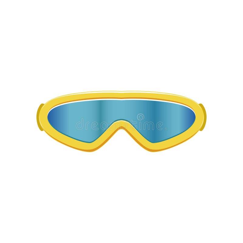 Kreskówki ikona narciarscy gogle Zima sporta szkła z błękitną kolor żółty ramą i obiektywami eyewear zabezpieczające Płaski wekto ilustracji