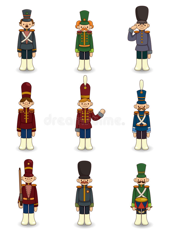 kreskówki ikony żołnierzy zabawka ilustracja wektor