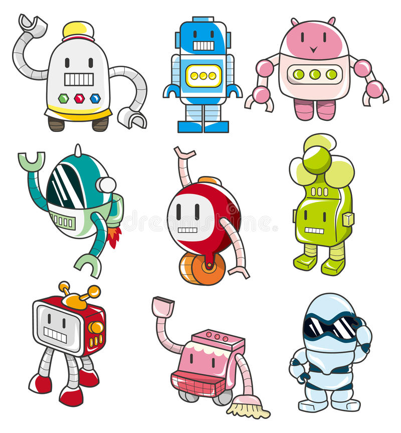 kreskówki ikony robot royalty ilustracja
