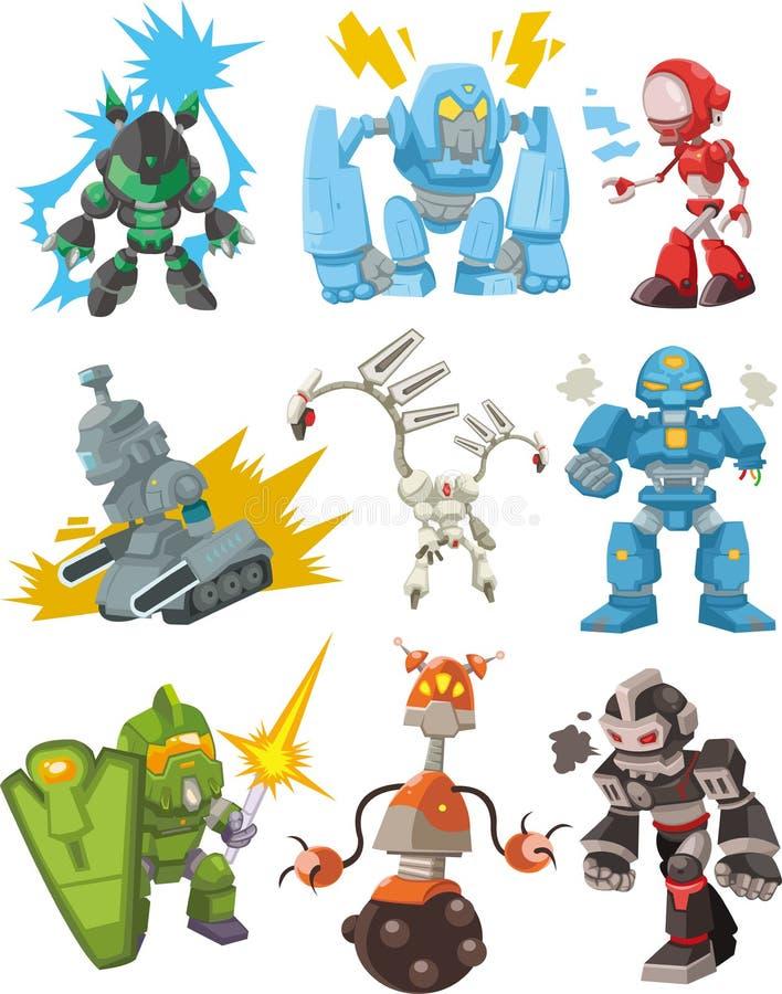 kreskówki ikony roboty ilustracja wektor