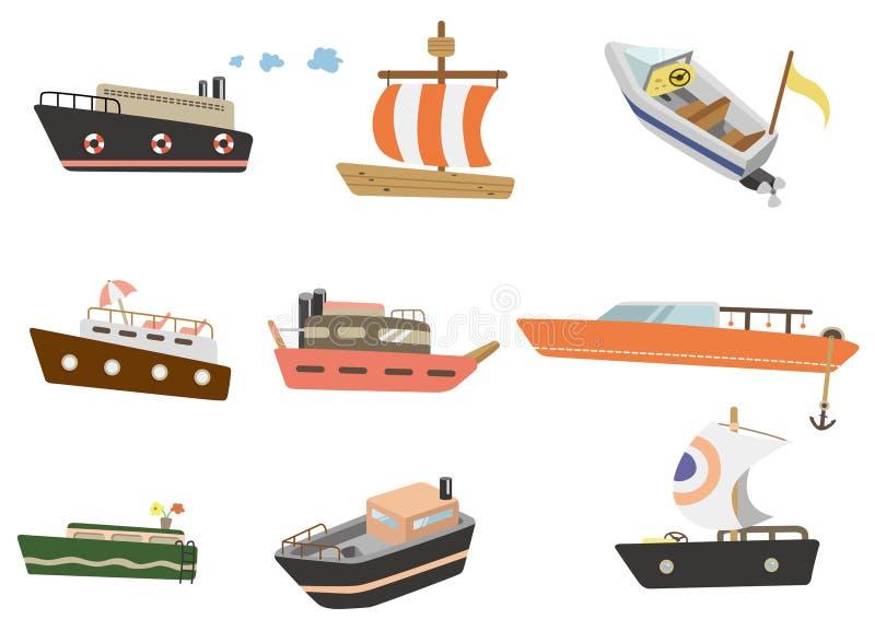 kreskówki ikony statek royalty ilustracja