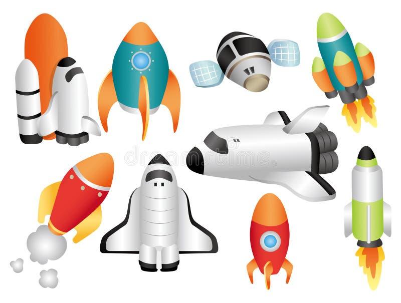 kreskówki ikony statek kosmiczny ilustracji