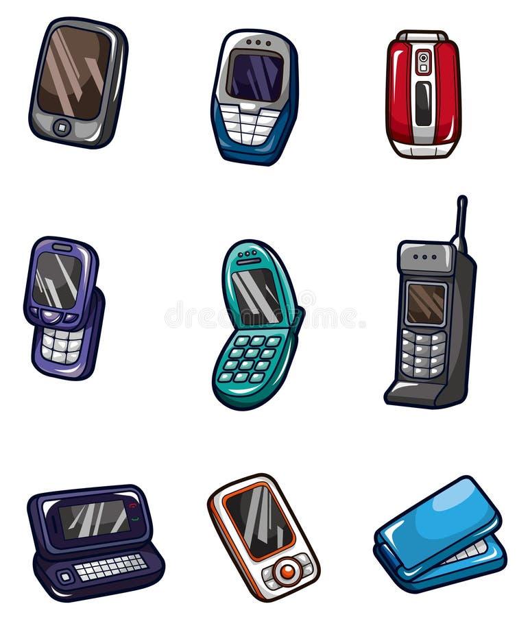 kreskówki ikony telefon komórkowy ilustracji