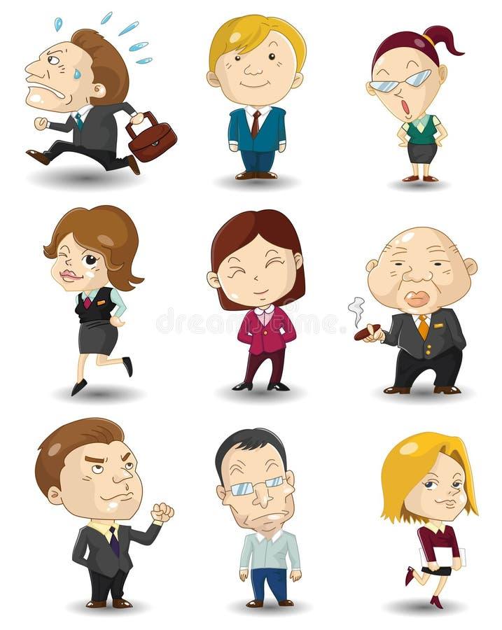 kreskówki ikony urzędnicy ilustracja wektor