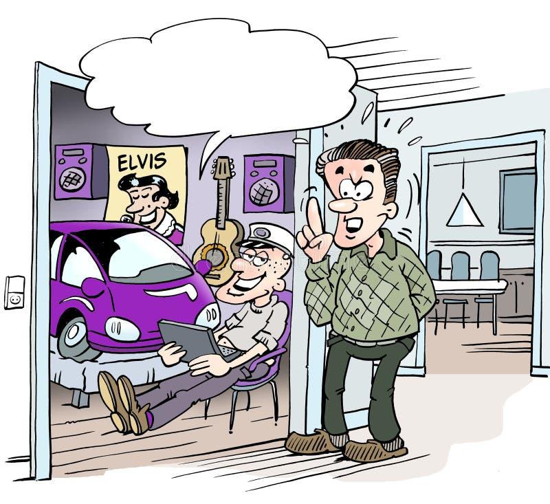 Kreskówki illustratpion uczeń który otrzymywał małego samochód w studenckim prezencie ilustracji
