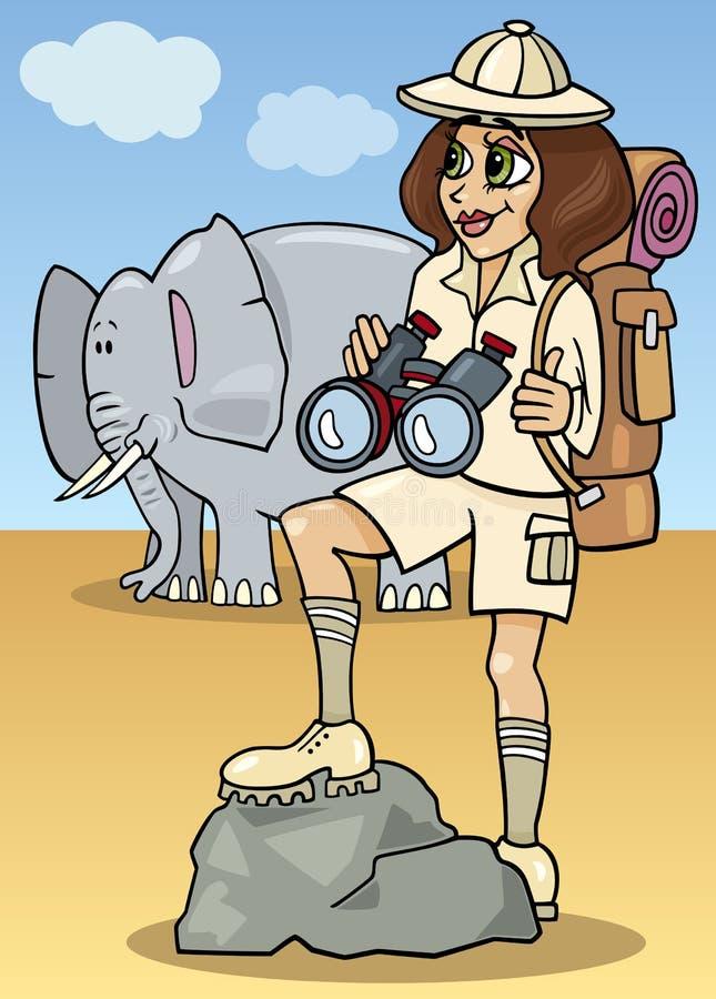 Śliczna kobieta na afrykańskim safari ilustracja wektor