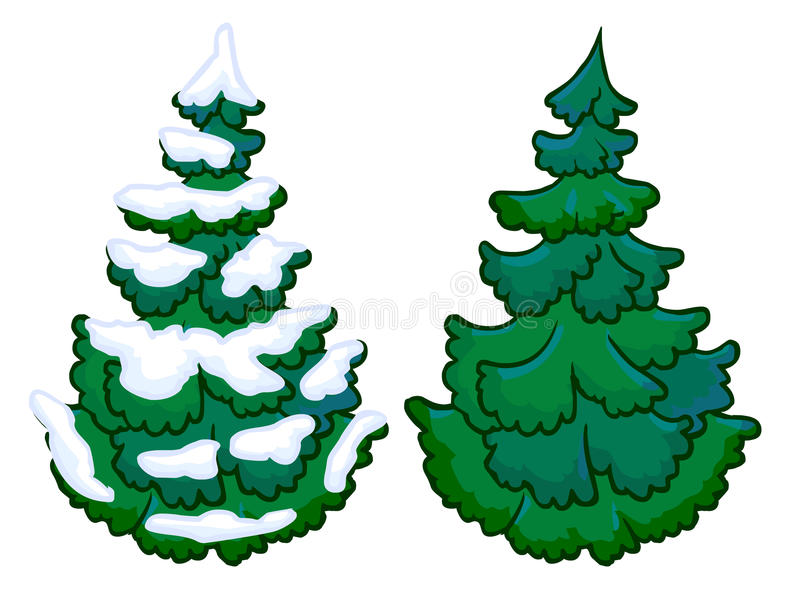 Kreskówki ilustracja świerkowy drzewo ilustracji