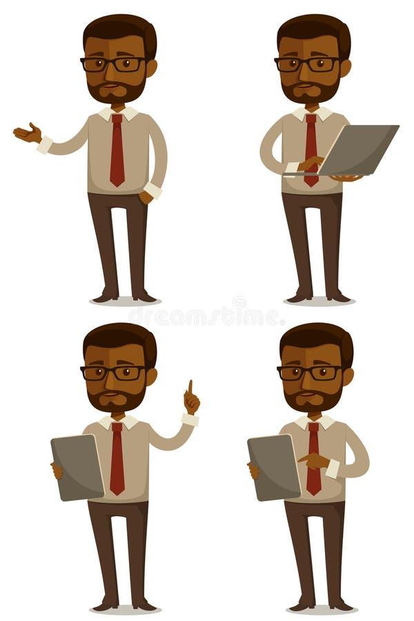 Kreskówki ilustracja amerykanina afrykańskiego pochodzenia biznesmen royalty ilustracja